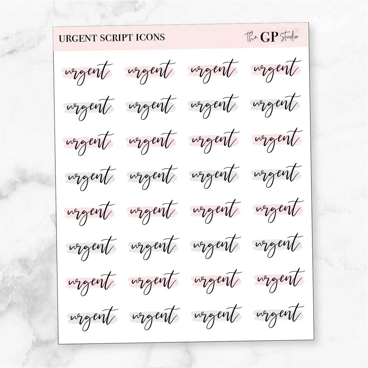 URGENT Script Word Icon Planner Stickers-The GP Studio