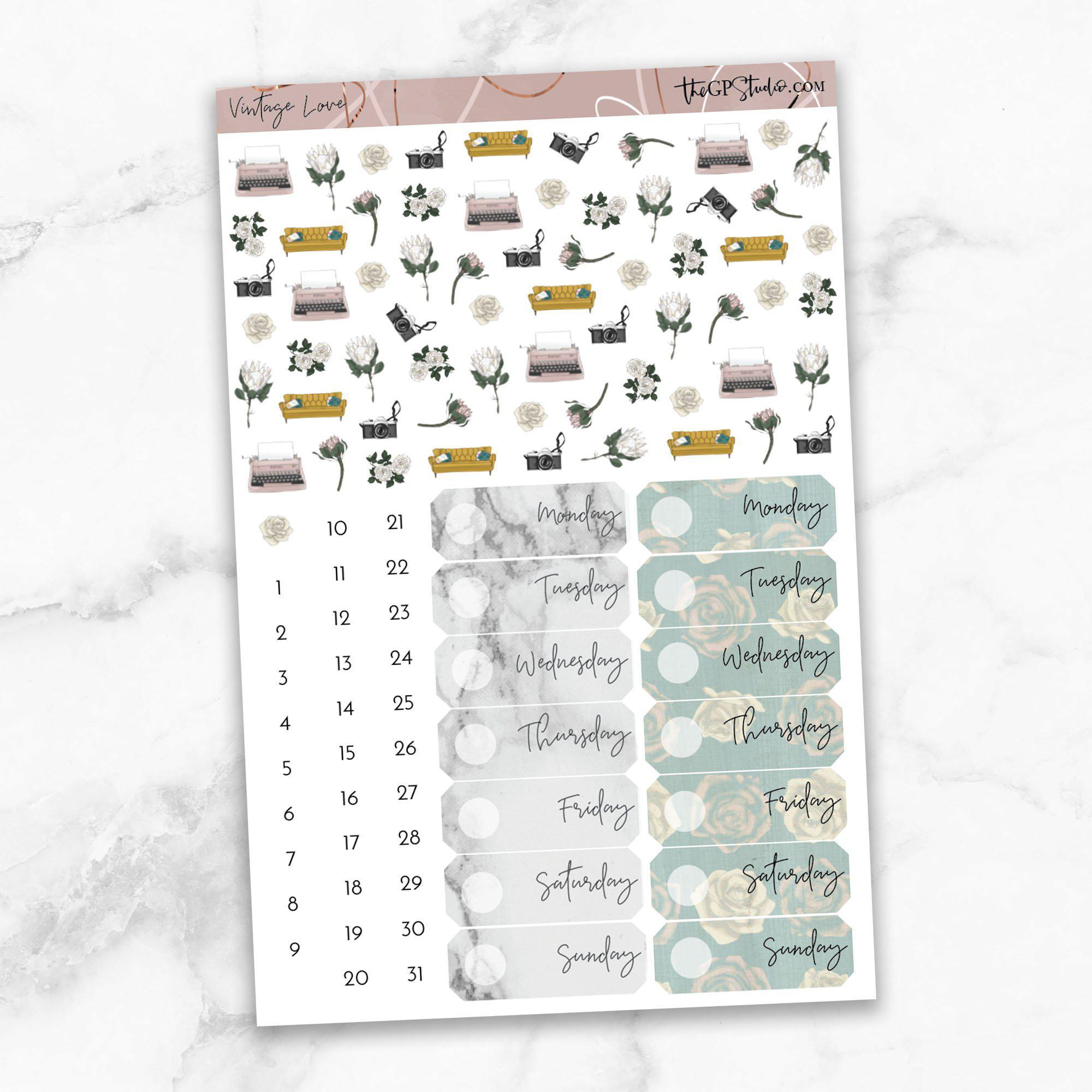 VINTAGE LOVE Deco & Date Cover Stickers-The GP Studio
