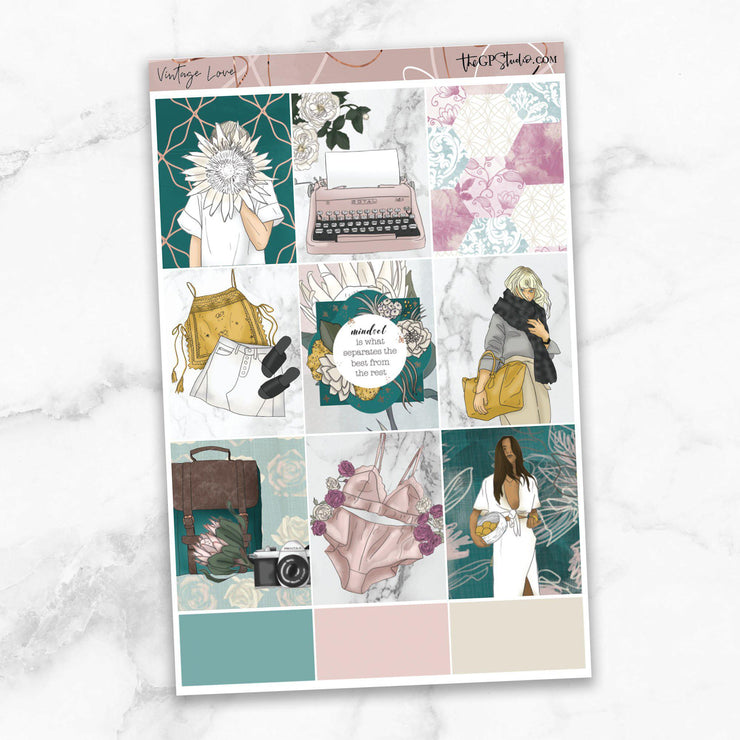 VINTAGE LOVE Full Boxes Planner Stickers-The GP Studio