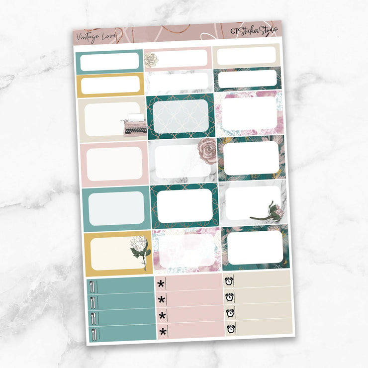 VINTAGE LOVE Half Boxes Planner Stickers-The GP Studio
