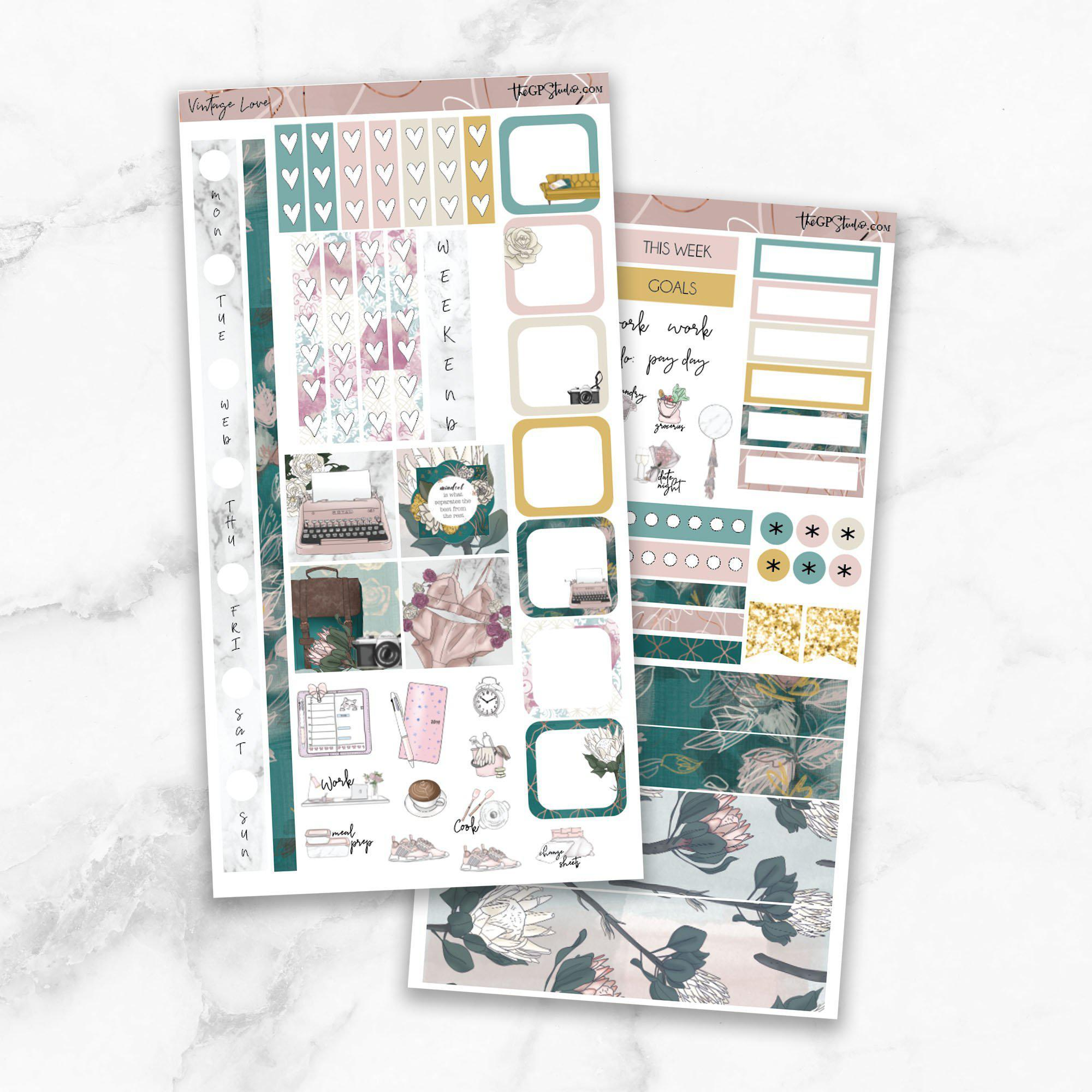 VINTAGE LOVE Hobonichi Weekly Size Planner Sticker Kit-The GP Studio