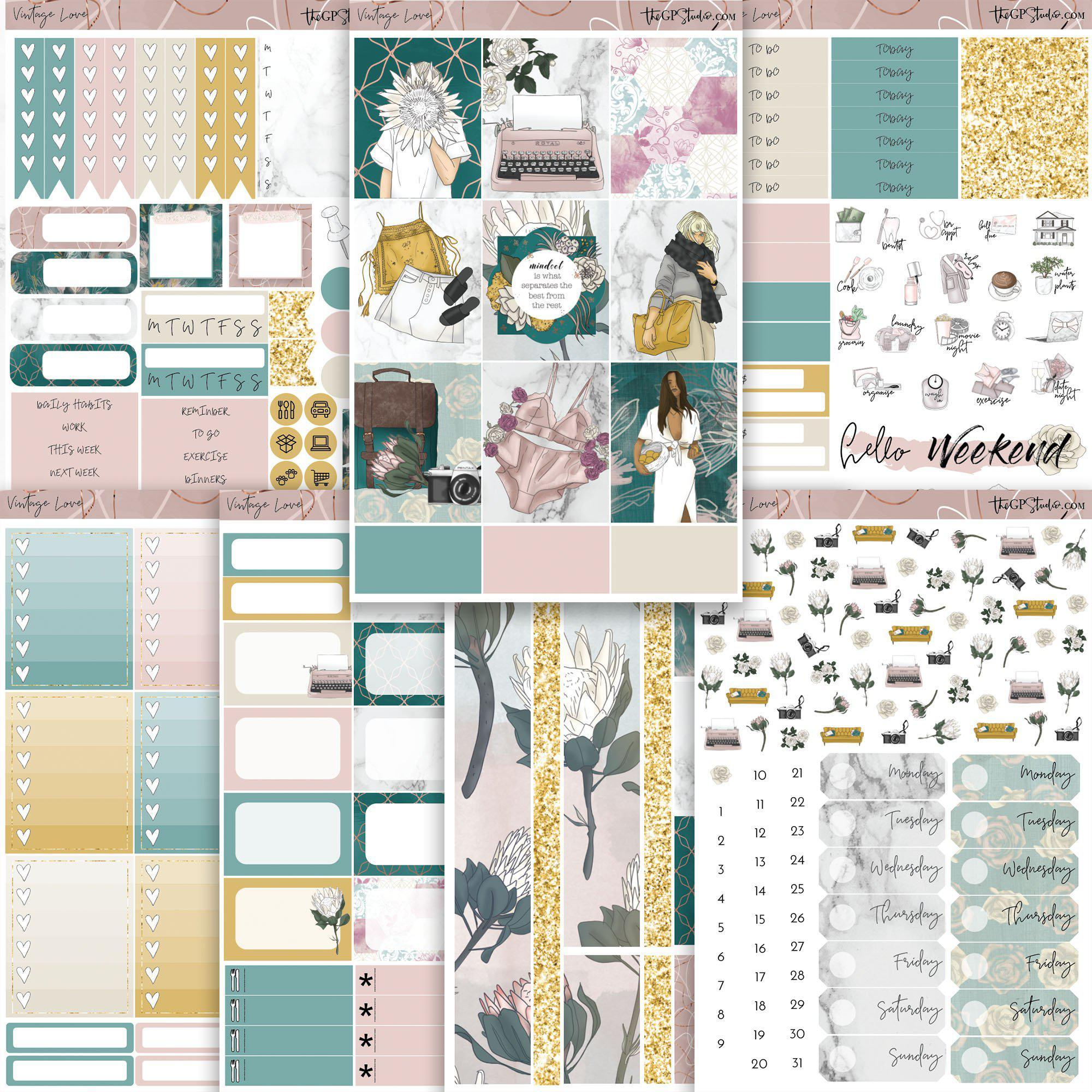 VINTAGE LOVE Planner Sticker Kit-The GP Studio