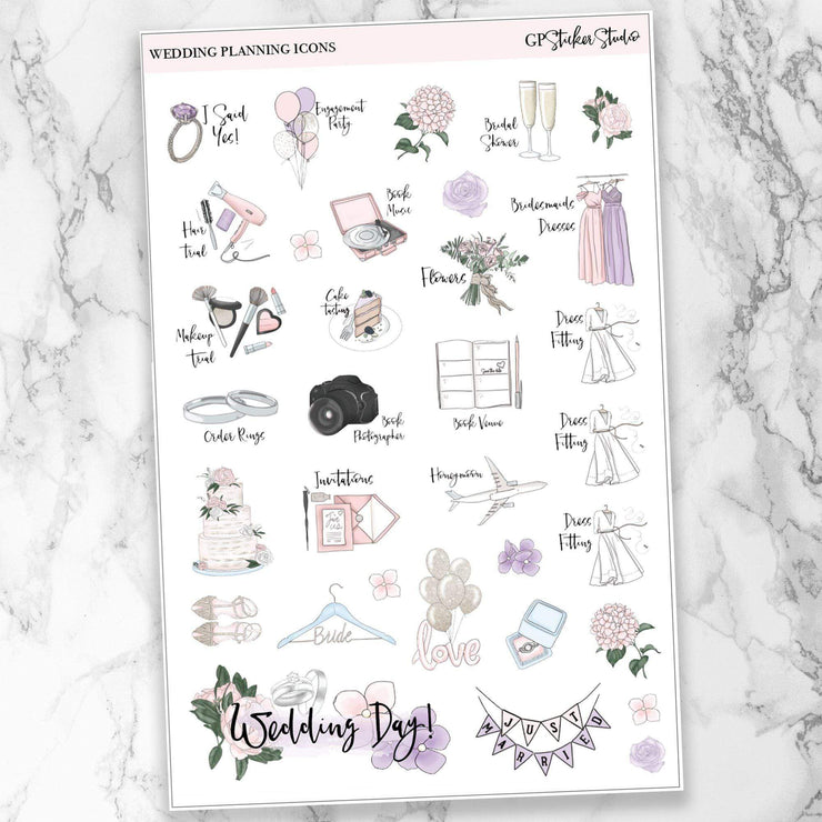 WEDDING PLANNING Icon Planner Stickers-The GP Studio
