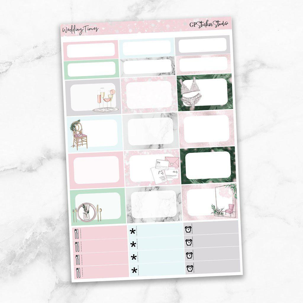 WEDDING TIMES Half Boxes Planner Stickers-The GP Studio