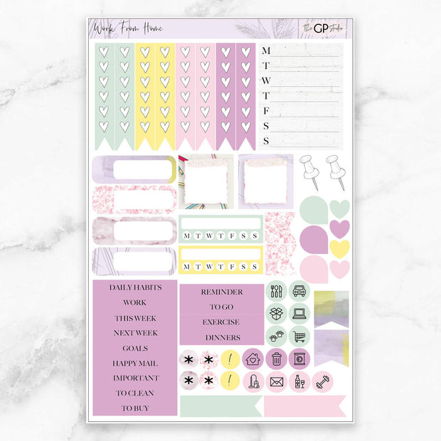 WORK FROM HOME Functional Planner Sticker Kit-The GP Studio