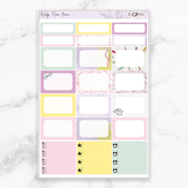 WORK FROM HOME Half Boxes Planner Stickers-The GP Studio