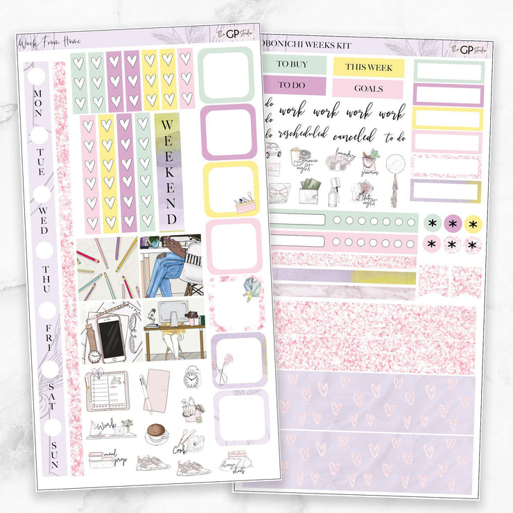 WORK FROM HOME Hobonichi Weekly Size Planner Sticker Kit-The GP Studio