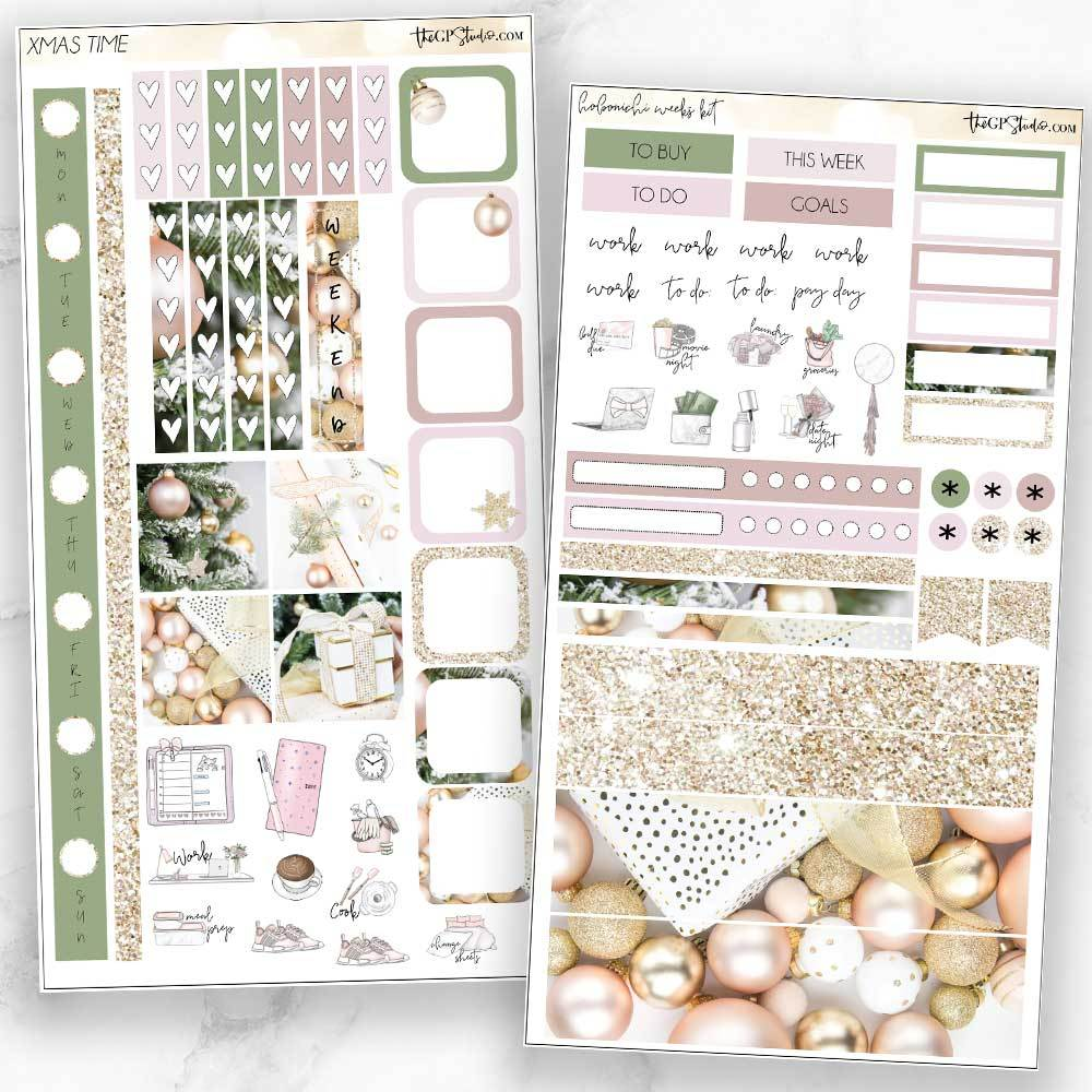 XMAS TIME Hobonichi Weekly Size Planner Sticker Kit-The GP Studio
