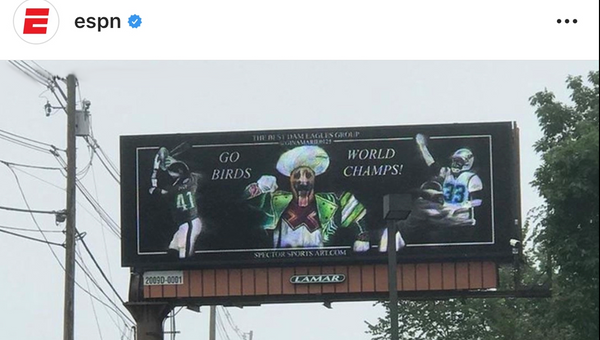 Super Bowl Champion Eagles Troll Patriots With Billboard | Gillette Stadium