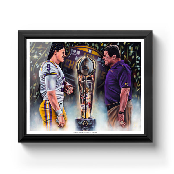 "Joe Burrow and Coach O ""Perfection"" Art Print - Spector Sports Art - 16 X 20 Art Print / Classic Black"