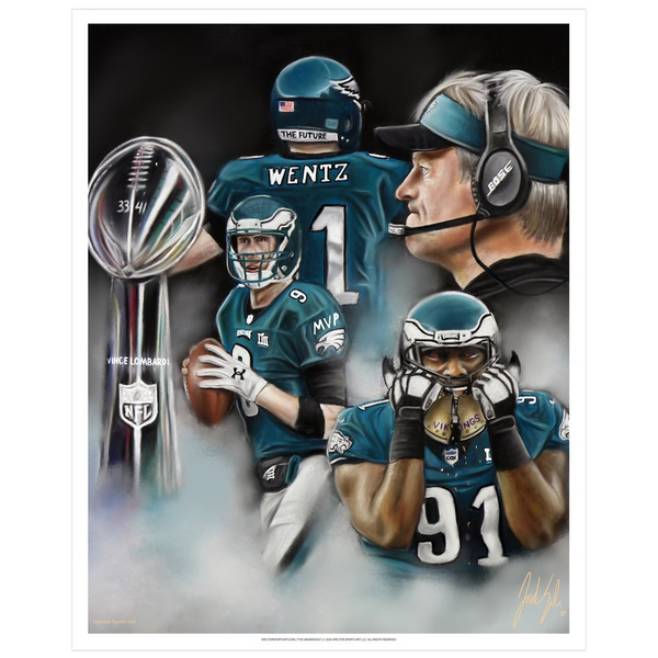 "Super Bowl LII ""The Underdogs"" Art Print - Spector Sports Art"