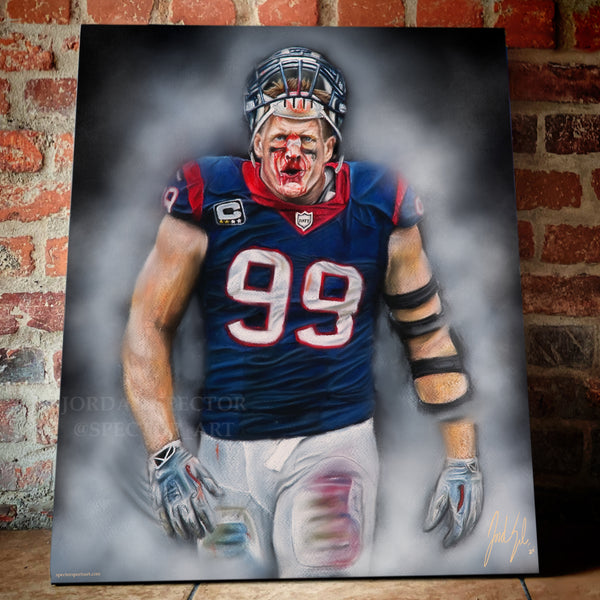 "JJ Watt ""Houston Strong"" Canvas - Spector Sports Art -"
