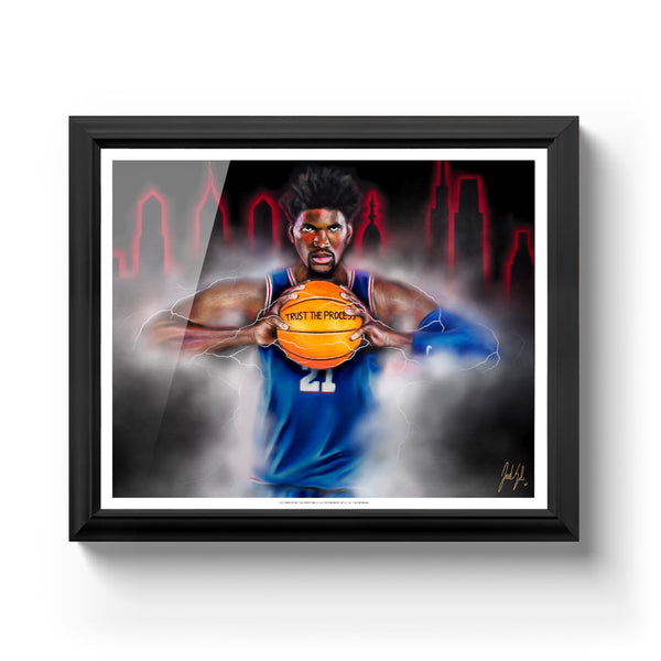 "Joel Embiid ""The Process"" Art Print - Spector Sports Art - 16 X 20 Art Print / Classic Black"