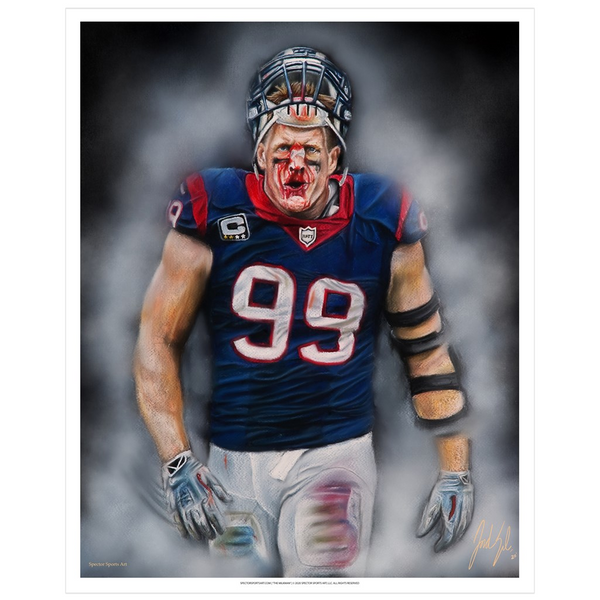 "JJ Watt ""Houston Strong"" Art Print - Spector Sports Art - 16 X 20 Art Print / no frame"