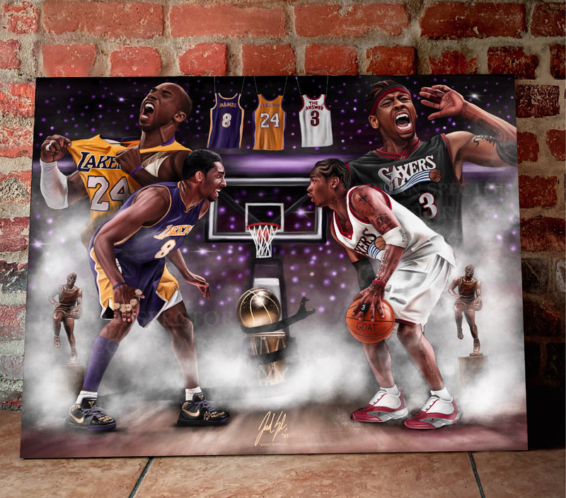 "Mamba vs. The Answer "" Pound For Pound"" Canvas - Spector Sports Art -"