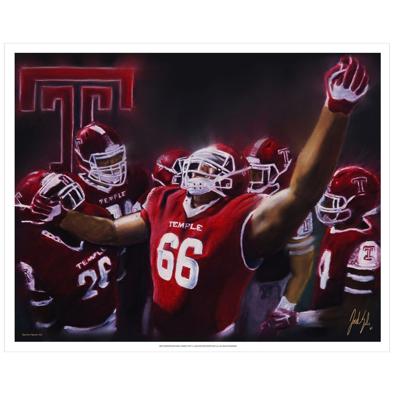 "Temple University Football ""TUFF"" Art Print - Spector Sports Art - 16 X 20 Art Print / no frame"