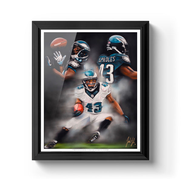 "Darren Sproles ""The Bullet"" Art Print - Spector Sports Art - 16 X 20 Art Print / Classic Black"