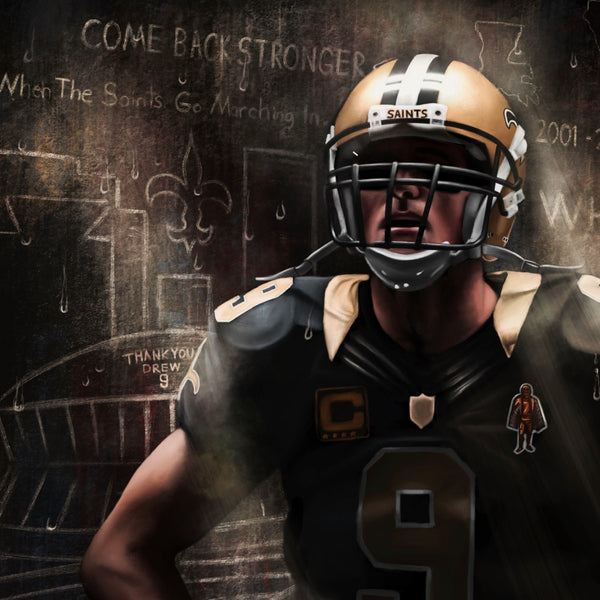 "Drew Brees ""THE SAINT"" Canvas - Spector Sports Art -"