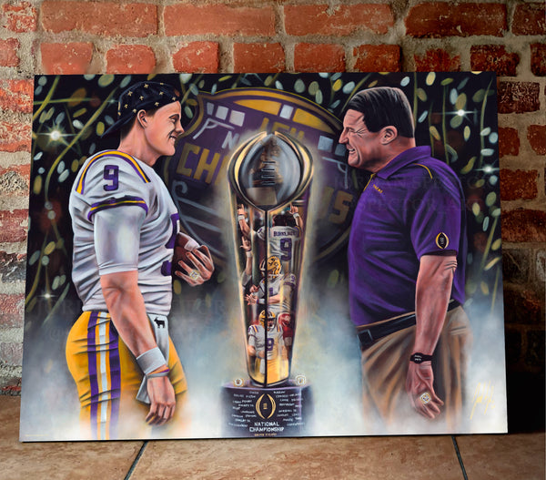 "Joe Burrow and Coach O ""Perfection"" Canvas - Spector Sports Art - 24 X 30 Canvas (Limited Edition)"