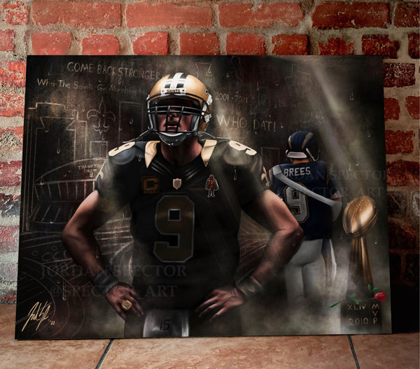"Drew Brees ""THE SAINT"" Canvas - Spector Sports Art - 16 X 20 Canvas"