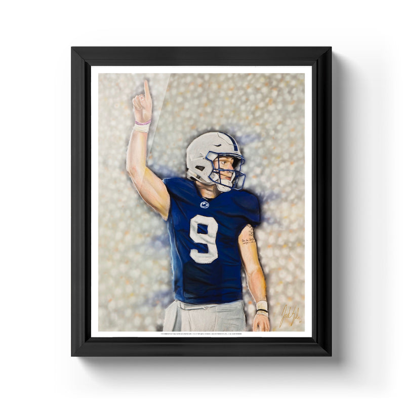 "Trace McSorley ""White Out"" Art Print - Spector Sports Art - 16 X 20 Art Print / Classic Black"