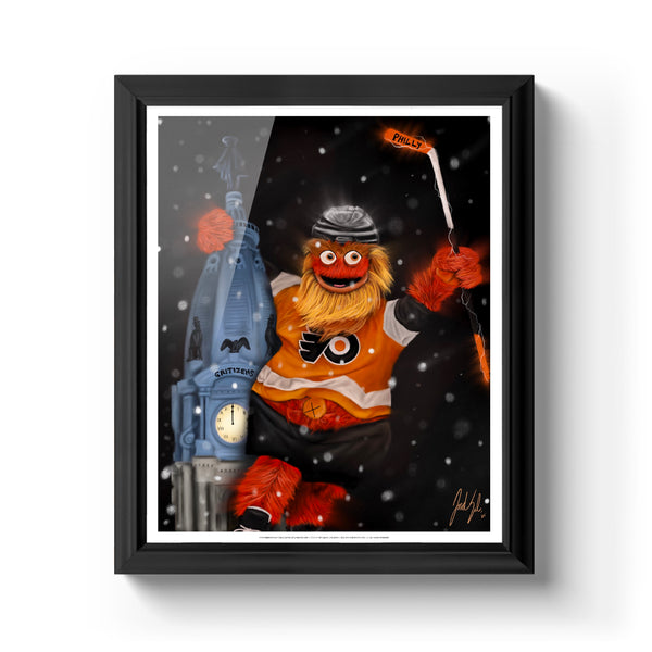 "Gritty ""GRITIZENS"" Philadelphia Flyers Art Print - Spector Sports Art - 16 X 20 Art Print / Classic Black"
