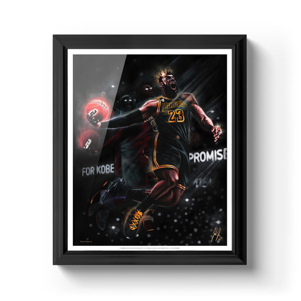 "King James ""King Me"" Art Print - Spector Sports Art - 16 X 20 Art Print / Classic Black"