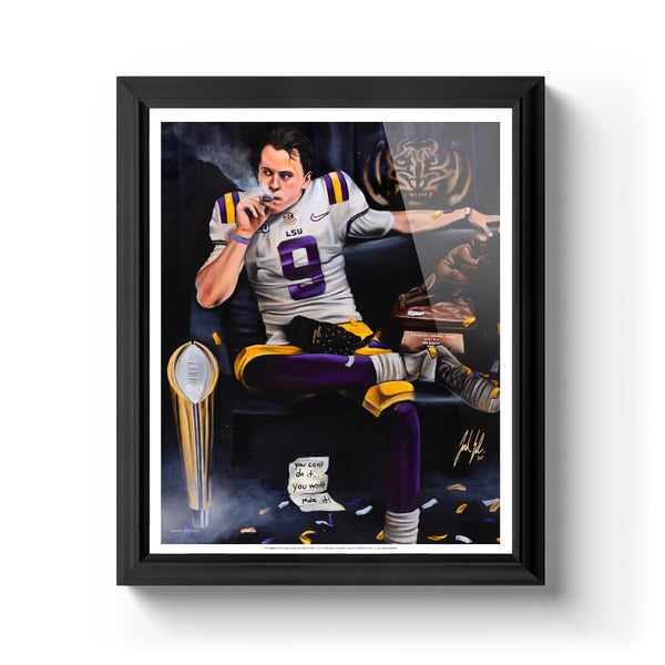 "Joe Burrow ""Burreaux"" Art Print - Spector Sports Art - 16 X 20 Art Print / Classic Black"