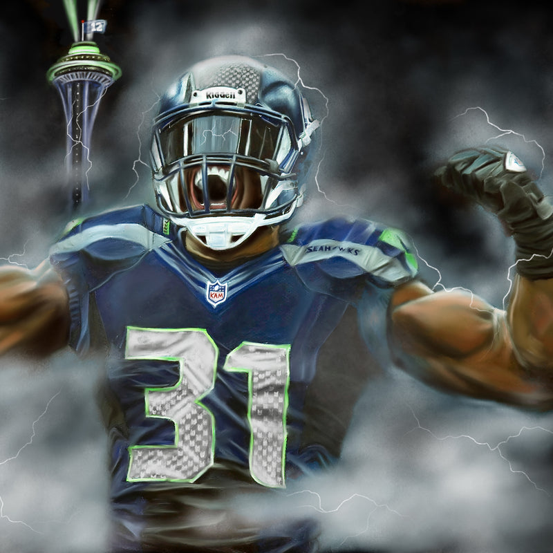 "Kam Chancellor ""Bam Bam Kam"" Canvas - Spector Sports Art"