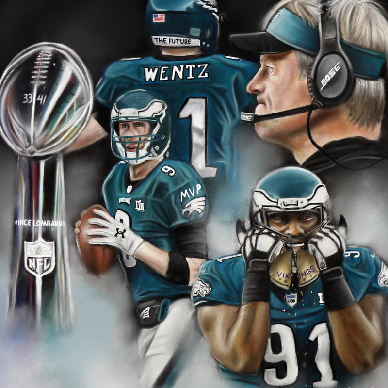 "Super Bowl LII ""The Underdogs"" Canvas - Spector Sports Art"