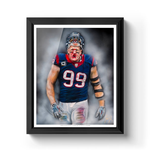 "JJ Watt ""Houston Strong"" Art Print - Spector Sports Art - 16 X 20 Art Print / Classic Black"