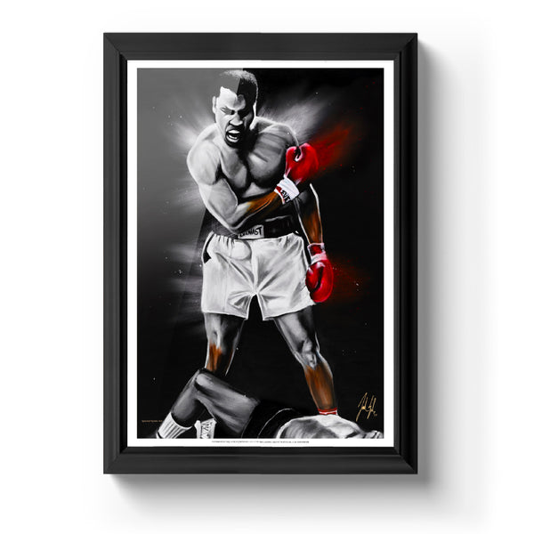 The Great Ali Art Print - Spector Sports Art - 16 X 24 Art Print / Classic Black