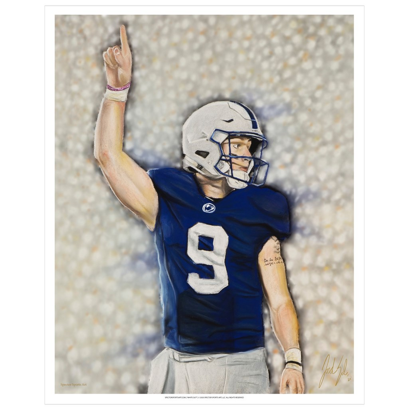 "Trace McSorley ""White Out"" Art Print - Spector Sports Art - 16 X 20 Art Print / no frame"