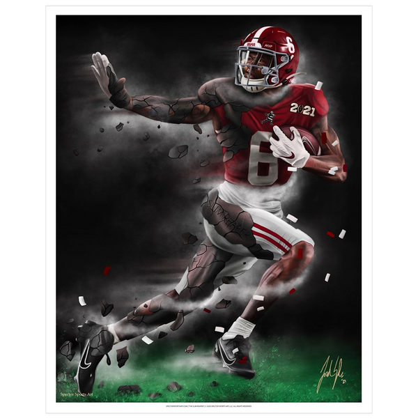 "Devonta Smith ""The Slim Reaper"" Art Print - Spector Sports Art -"