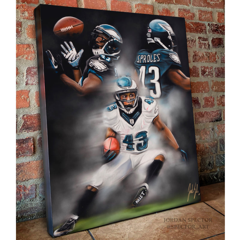 "Darren Sproles ""The Bullet"" Canvas - Spector Sports Art"