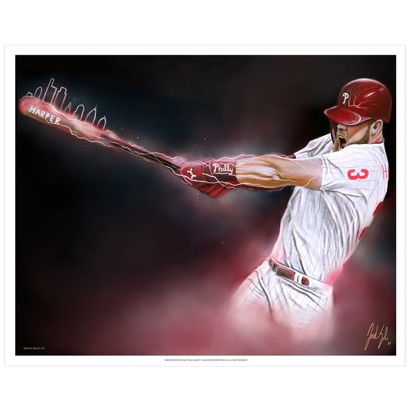 "POS | Phillies Bryce Harper ""Phully Loaded"" - Spector Sports Art - 16 X 20 Art Print"