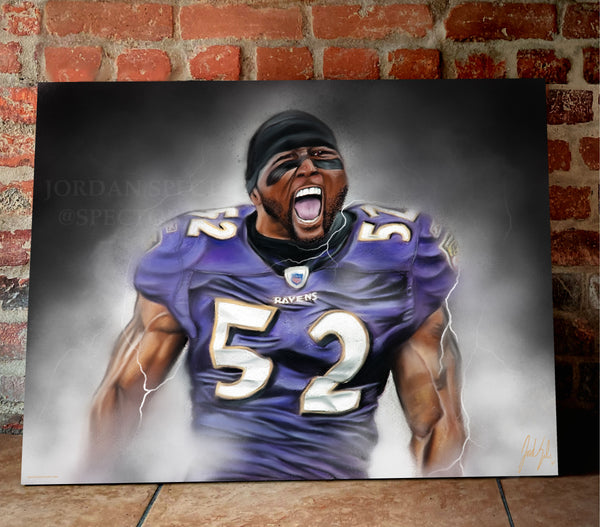 "Ray Lewis ""Gridiron Legend"" Canvas - Spector Sports Art -"
