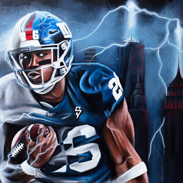 "Saquon ""Born To Run"" Canvas - Spector Sports Art -"
