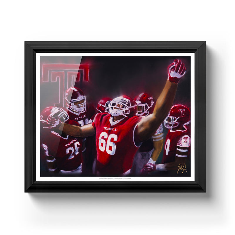 "Temple University Football ""TUFF"" Art Print - Spector Sports Art - 16 X 20 Art Print / Classic Black"