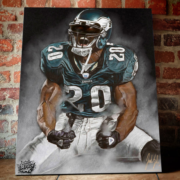 "Brian Dawkins ""Weapon X"" Canvas - Spector Sports Art -"