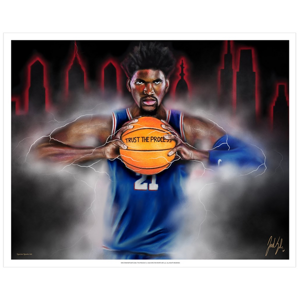 "Joel Embiid ""The Process"" Art Print - Spector Sports Art - 16 X 20 Art Print / no frame"