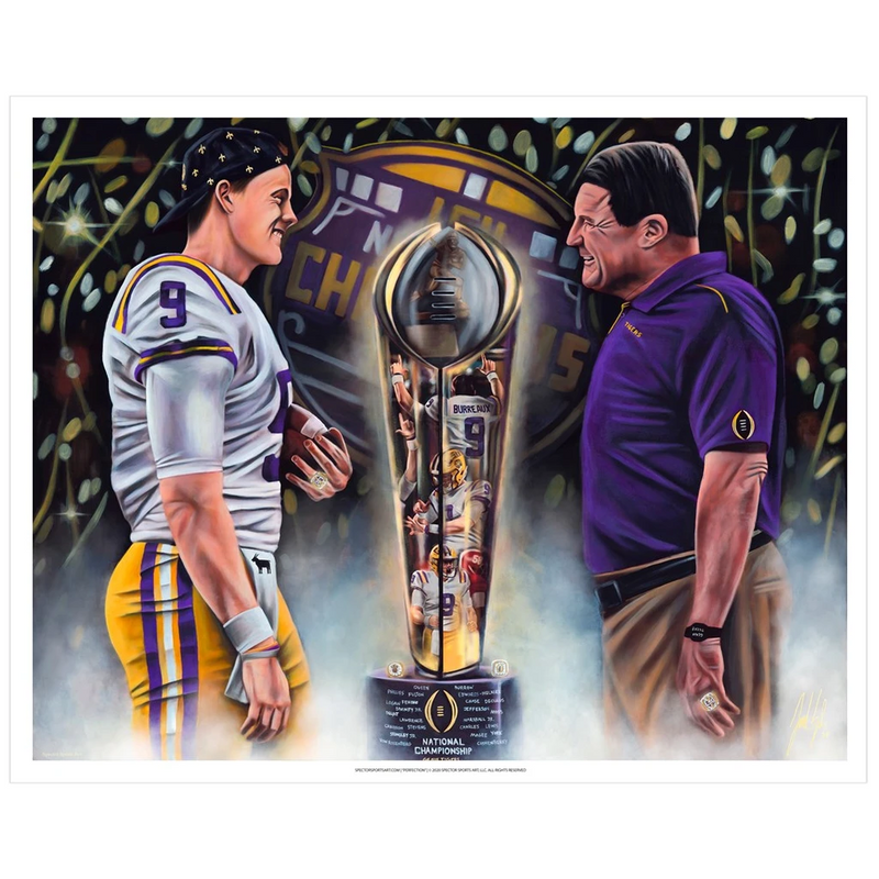 "Joe Burrow and Coach O ""Perfection"" Art Print - Spector Sports Art - 16 X 20 Art Print / No Frame"