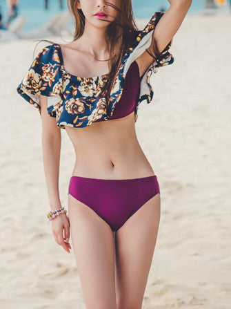 Floral Printed Top Purple Bottom Bikini Sets - WealFeel