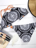 Black Totem Pattern Bikini Sets - WealFeel