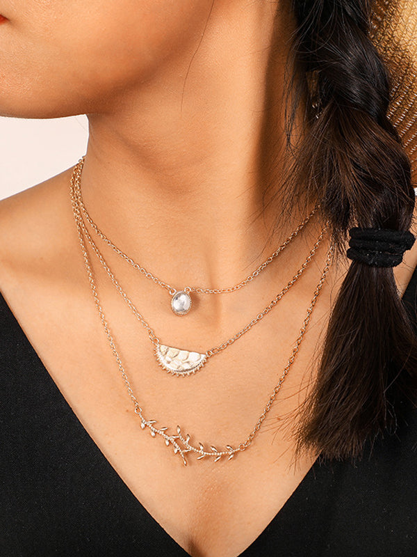 White Opal & Leaf Geometric Necklace - WealFeel