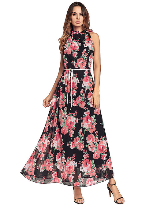 Women Sex Halter Floral Maxi Dress - WealFeel