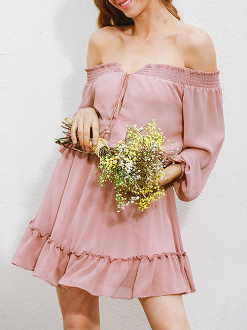 Off-the-shoulder A-line Loose Chiffon Dress - WealFeel