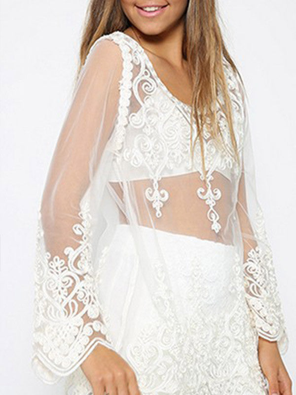 White Sexy Long Sleeve Lace Blouse - WealFeel