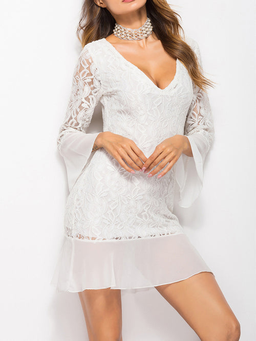 Long Sleeve Lace Trumpet Dress - WealFeel