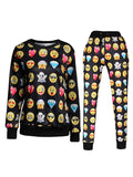 WealFeel Fashion Emoji Long-sleeved Sweatshirt Suit - WealFeel